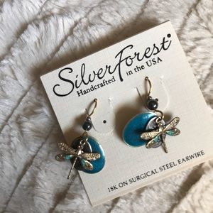 Handcrafted dragonfly turquoise and gold earrings